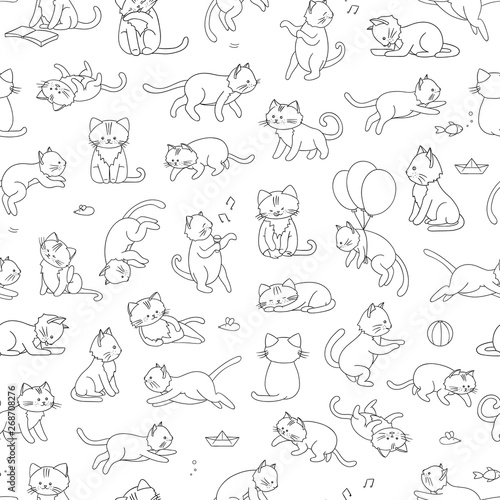 obraz lub plakat Vector seamless pattern of cute cartoon style cat in different poses. Animal character illustration for children. Hand drawn line drawings of funny kitten. Repeat background with pets for kids.