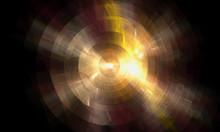 Copper Disk On Black, Abstract Fractal Mobile Wallpaper
