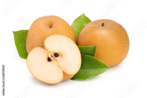 Fényképezés Fresh asian pear with leaf isolated on white background