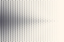 Hexagon Vector Abstract Geometric Technology Background. Halftone Hex Retro Simple Pattern. Minimal 80s Style Dynamic Tech Wallpaper