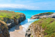 Famous beach of the Cathedrals (Playa de las Catedrales) in Ribadeo, Galicia, Spain