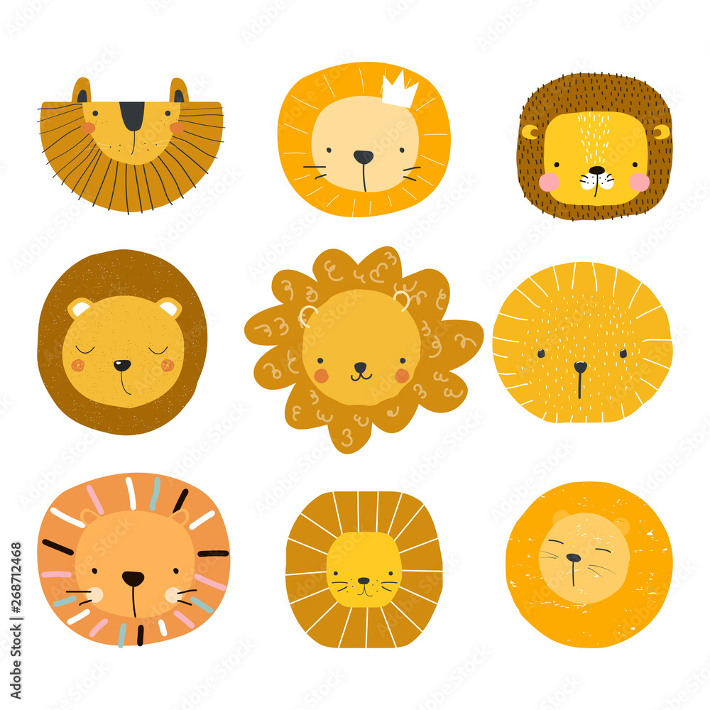 Fototapeta Set of cute lion faces. Kids graphic for print or poster. Vector hand drawn illustration.