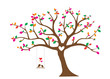 Birds Couple Silhouette on colorful tree Vector, Birds on swing on branch, Wall Decor, Birds in love, Wall Decals, Art Decor isolated on white background. Romance in nature, romantic