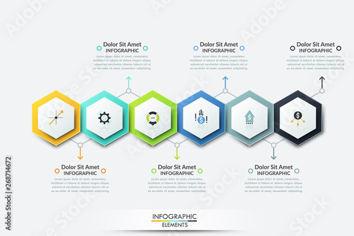 Six colorful realistic hexagonal elements with thin line icons inside placed into horizontal row and text boxes Canvas Print