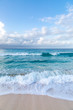 canvas print picture - Looking out to sea from an idyllic beach on the caribbean island of Barbados