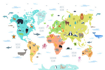 Panel Szklany Zwierzęta World map with wild animals living on various continents and in oceans. Cute cartoon mammals, reptiles, birds, fish inhabiting planet. Flat colorful vector illustration for educational poster, banner.