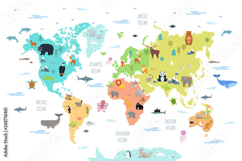 World map with wild animals living on various continents and ...