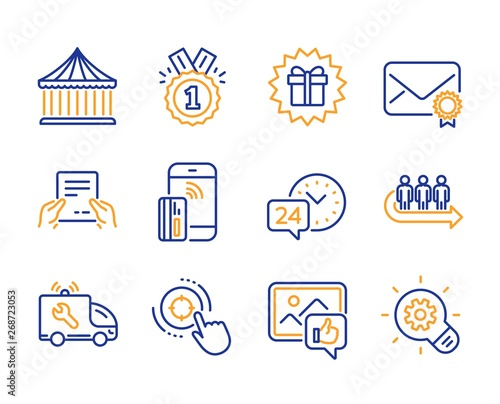 Photo  Receive file, 24h service and Seo target icons simple set