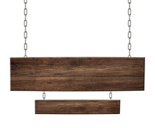 Oblong Wooden Double Sign Made Of Dark Wood Hanging On Chains