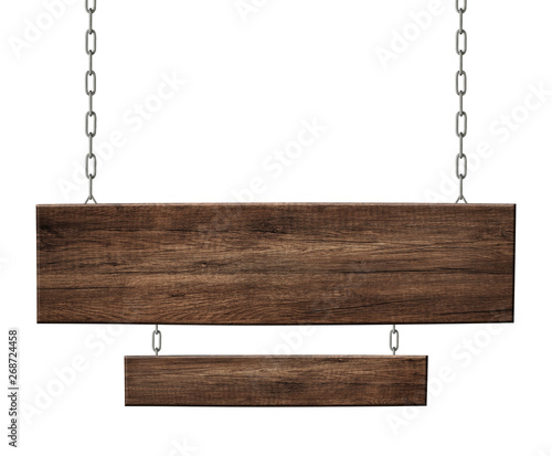Photo  Oblong wooden double sign made of dark wood hanging on chains