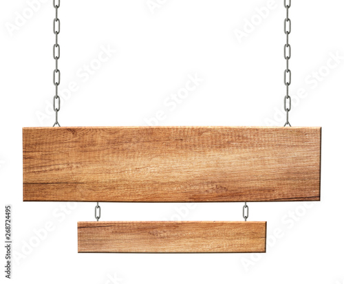 Oblong wooden double sign made of natural wood hanging on chains Wall mural