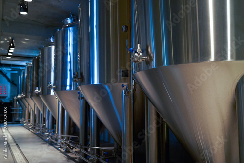 Craft beer production in private brewery, close-up Fotobehang