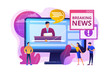 Press, mass media, broadcasting studio. Journalists, reporters characters. Hot online information, breaking news, headline news content concept. Bright vibrant violet vector isolated illustration