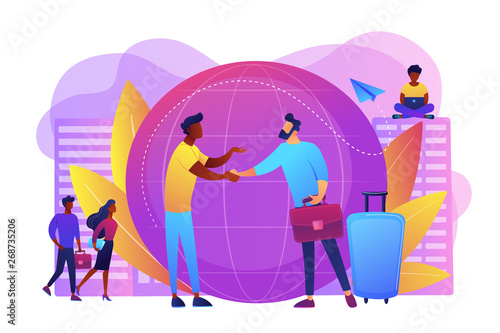 Human resources agency for migrants. Help hub. Expat work, effective migrant workers, expatriate programme, outside country employment concept. Bright vibrant violet vector isolated illustration - 268735206