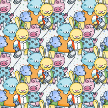 Vector Seamless Pattern In Scandinavian Stile. Backdrop For Children Textiles Wrapping Paper
