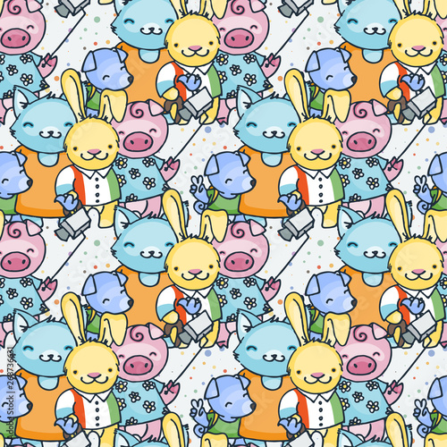 obraz lub plakat Vector seamless pattern in scandinavian stile. Backdrop for children textiles wrapping paper