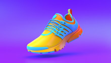 Multi-colored Shoe On Gradient Background, 3d Rendering..