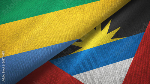 Fotografie, Obraz  Gabon and Antigua and Barbuda two flags textile cloth, fabric texture