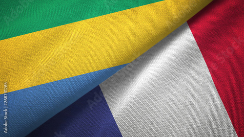 Fotografie, Obraz  Gabon and France two flags textile cloth, fabric texture