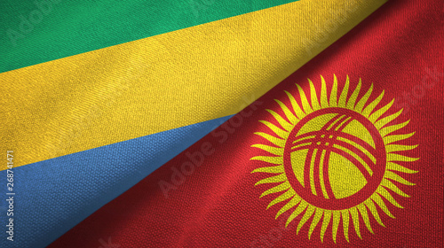 Fotografie, Obraz  Gabon and Kyrgyzstan two flags textile cloth, fabric texture