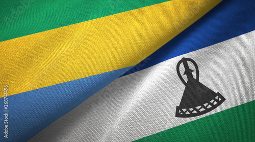 Fotografie, Obraz  Gabon and Lesotho two flags textile cloth, fabric texture