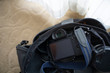 digital camera in bag on carpet