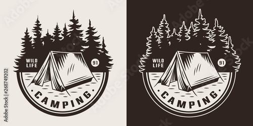 Vintage summer camping emblem Fototapeta