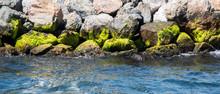 Mossy Rocks On The Coast Of Sea