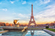 canvas print picture - Eiffel Tower at sunset in Paris, France. Romantic travel background