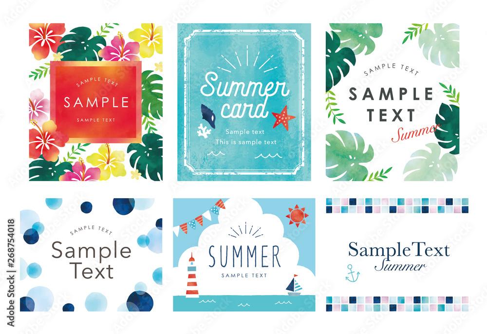 Fototapety, obrazy: 夏のカードセット