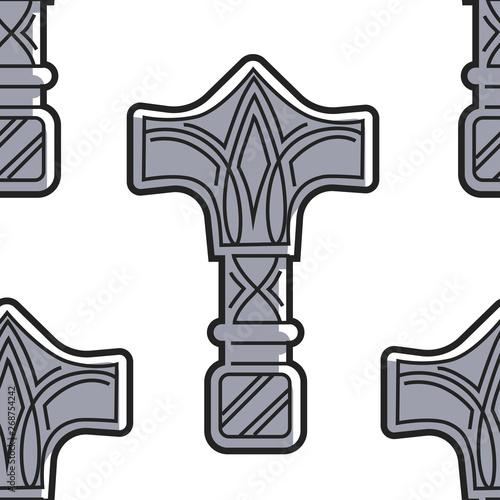 Cuadros en Lienzo Vikings weapon seamless pattern Mjolnir hammer of Thor