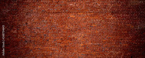 Deurstickers Baksteen muur Wide Angle Vintage Red Brick Wall Background