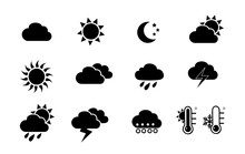 Weather And Seasons. Vector Icon Set