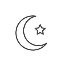 Muslim Crescent And Star Line Icon. Linear Style Sign For Mobile Concept And Web Design. Islamic Moon And Star Outline Vector Icon. Symbol, Logo Illustration. Vector Graphics