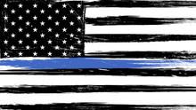 Grunge USA Flag With A Thin Bl...