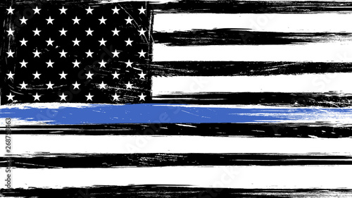 Fotografía  Grunge USA flag with a thin blue line - a sign to honor and respect american pol
