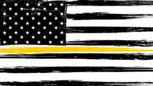 Grunge USA Flag With A Thin Yellow Or Gold Line - A Sign To Honor And Respect American Dispatchers, Security Guards And Loss Prevention.