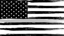 Grunge USA Flag With A Thin Gray Or Silver - A Sign To Honor And Respect American Correctional Officers, Prison Guards And Jailers.