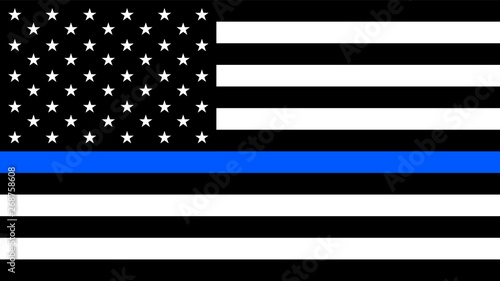 USA flag with a thin blue line - a sign to honor and respect american police, army and military officers