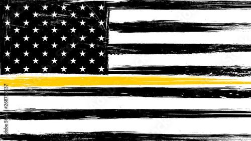 Fototapeta Grunge USA flag with a thin yellow or gold line - a sign to honor and respect American Dispatchers, Security Guards and Loss Prevention. obraz