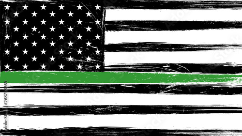 Photo Grunge USA flag with a thin green line - a sign to honor and respect american border patrol, park rangers and federal agents