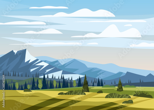 Foto auf AluDibond Pool Beautiful summer mountain landscape valley rural countryside, green hills, bright color blue sky, meadows with mountains
