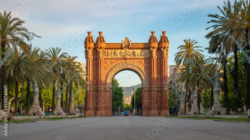 Montage in der Fensternische Barcelona The Arc de Triomf is a triumphal arch in the city of Barcelona in Catalonia, Spain