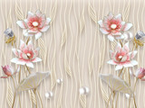 3D illustration, beige background, vertical wavy lines, fabulous light pink and gray flowers on gilded stems