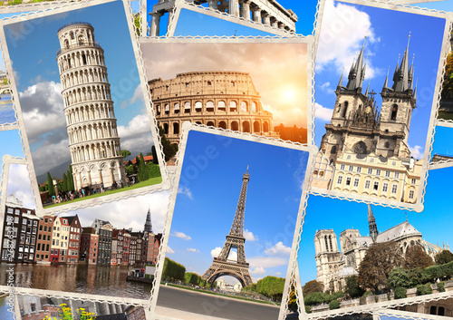 Obraz Vintage travel background with retro photos of european landmarks - fototapety do salonu