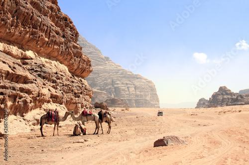 Car safari in Wadi Rum desert, Jordan
