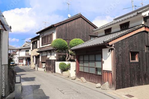 Street with traditional japanese houses, Bikan district, Kurashiki, Japan