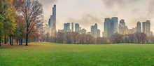 Central Park At Rainy Day, New York City, USA