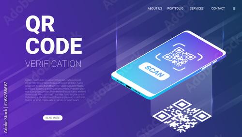 QR code verification service web banner isometric vector Canvas-taulu