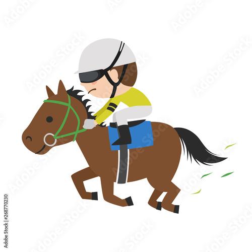 Obraz na plátně 競馬のイラスト。一生懸命走っている競走馬と若手騎手。